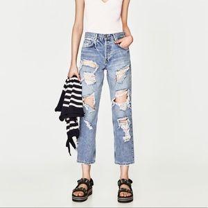 Zara Straight Cut Jeans W Rips Size US 4